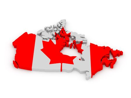 Land of Canada painted in color of canadian flag isolated on white background. High quality 3d render.