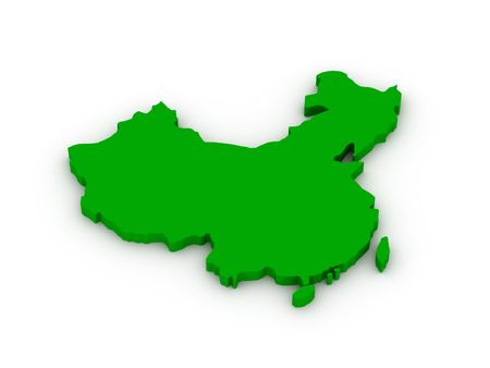 Lands of China on white background. High quality 3d render. Stock Photo