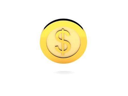 gold ingot: Gold coin with dollar sign. High quality 3d render. Stock Photo