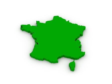 gallic: Lands of France on white background. High quality 3d render. Stock Photo