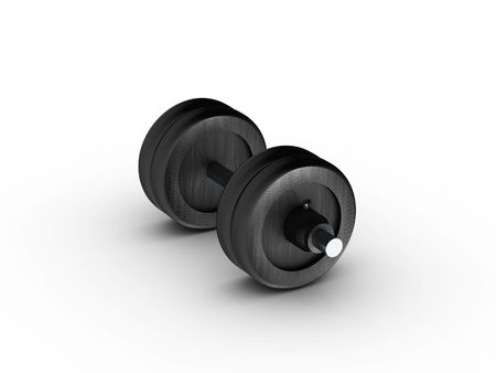 lbs: Dumbbell side view on white background. High quality 3d render. Stock Photo