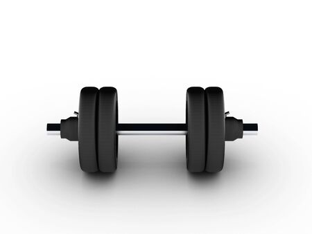 lbs: Dumbbell view from front on white background. High quality 3d render.