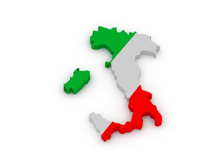 geographical locations: Land of Italy painted in color of italian flag isolated on white background. High quality 3d render.