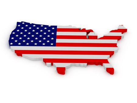 geographical locations: Land of United States of America painted in color of US flag isolated on white background. High quality 3d render.