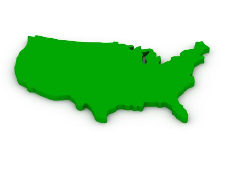 Lands of United States of America on white background. High quality 3d render.