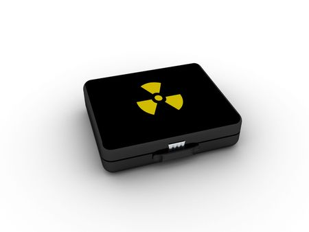 Black nuclear suitcase on white background. High quality 3d render. photo