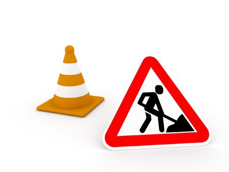 Construction zone, road sign and striped orange cone on white background. High quality 3d render.