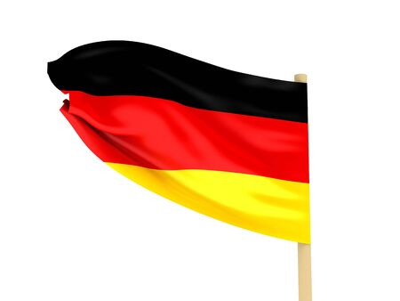 Flag of the Germany on pole on white background. High quality 3d render. photo