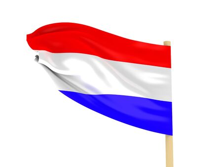 dutch landmark: Flag of Holland on pole on white background. High quality 3d render. Stock Photo