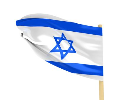 Flag of Israel on pole on white background. High quality 3d render. Stock Photo - 6728831