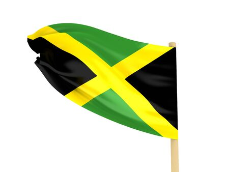 Flag of Jamaica on pole on white background. High quality 3d render. photo