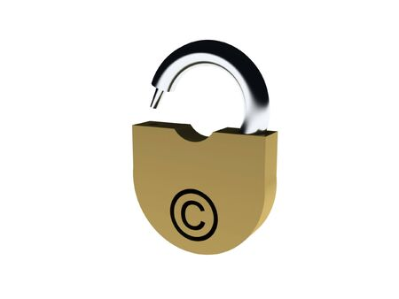 Padlock with a hole in the form of copyright sign isolated on white background. High quality 3d render. photo