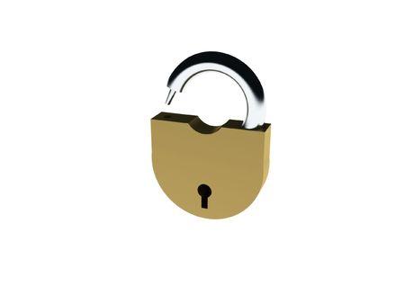 Unlocked padlock on white background. High quality 3d render. Stock Photo - 6728762