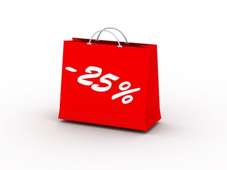 25% off. Red package isolated on white background. High quality 3d render. Stock Photo
