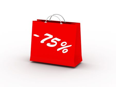 75% off. Red package isolated on white background. High quality 3d render. Stock Photo - 6729080
