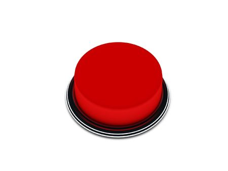 Red button isolated on white background. High quality 3d render.