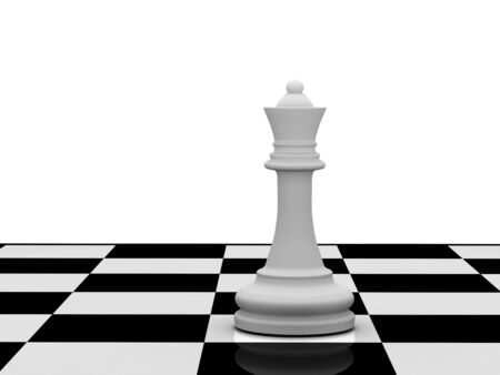 White chess queen on chessboard on white background. High quality 3d render.