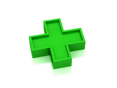 Red medical cross isolated on white background. High quality 3d render. photo