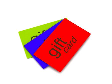 christmas debt: Gift cards (red, green and blue) isolated on white background. High quality 3d render.