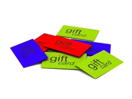 Pile of gift cards isolated on white background. High quality 3d render.