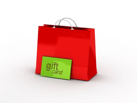 Shopping. Gift card and shopping bag isolated on white background. High quality 3d render. Stock Photo - 6728968