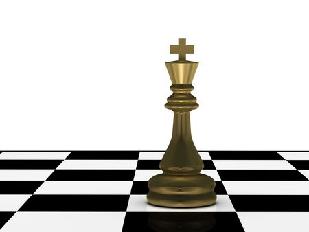 Golden chess king on chessboard isolated on white background. High quality 3d render. photo