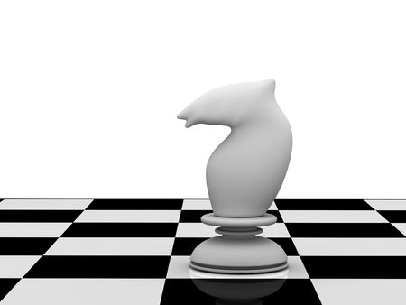 White chess knight on chessboard isolated on white background. High quality 3d render.