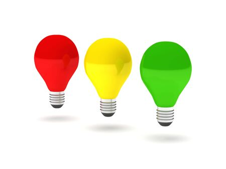 Stoplight bulbs. Three color bulb (green, yellow and red) isolated on white background. High quality 3d render. Stock Photo - 6729123