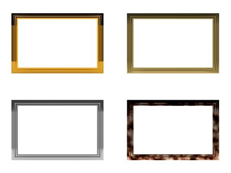 Four blank horizontal frames isolated on white background. High quality 3d render. photo