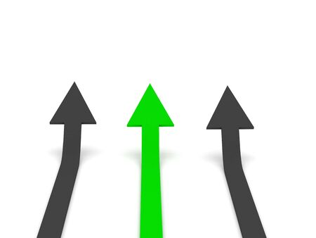 rival: Grow 3d arrow stat. Green and grey arrows isolated on white background. High quality 3d render.