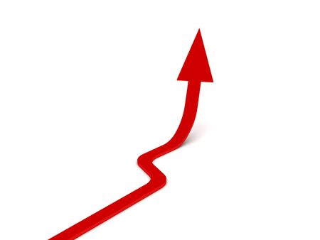 Upwards arrow. Red arrow isolated on white background. High quality 3d render. Stock Photo