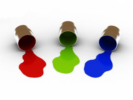 RGB spilled paints isolated on white background. High quality 3d render.