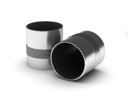 흰색 배경에 고립 된 두 캔입니다. 고품질 3d 렌더링입니다.