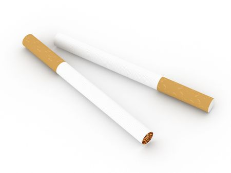 Two cigarettes isolated on white background. High quality 3d render. photo