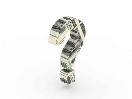 price uncertainty: Money question. Question mark with texture of the dollar isolated on white background. High quality 3d render.