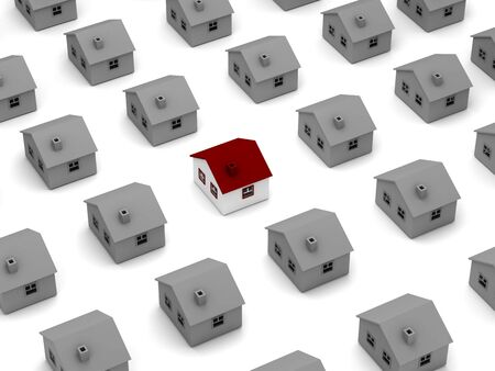 House search concept. Many houses isolated on white background. High quality 3d render. photo