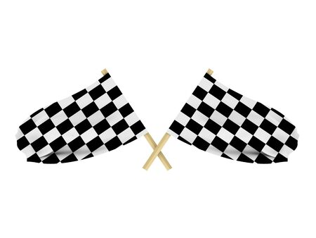Race flags isolated on white background. High quality 3d render. Stock Photo