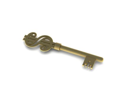 Golden key with dollar sign isolated on white background. High quality 3d render.