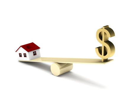 Real estate finance. House model and dollar sign on seesaw isolated on white background. High quality 3d render.