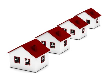 Real estate. Row of houses isolated on white background. High quality 3d render.