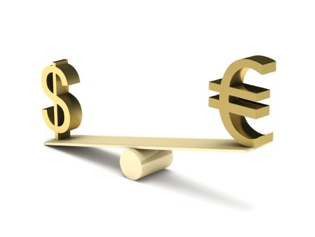 Imbalance of dollar and euro isolated on white background. High quality 3d render. Stock Photo