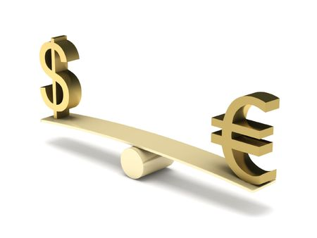 Balance of dollar and euro isolated on white background. High quality 3d render.  Stock Photo