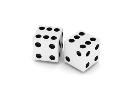 Two white dice isolated on white background. High quality 3d render. photo