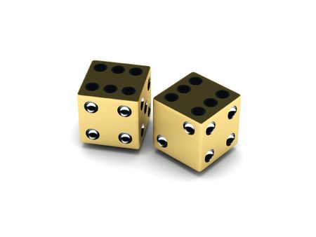 Two golden dice isolated on white background. High quality 3d render. photo