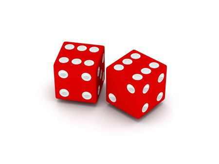 Two red dice isolated on white background. High quality 3d render. photo