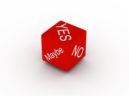 Yes, no, maybe. Red dice isolated on white background. High quality 3d render. photo
