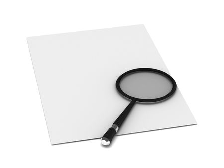Searching. Loupe on sheet of paper isolated on white background. High quality 3d render.