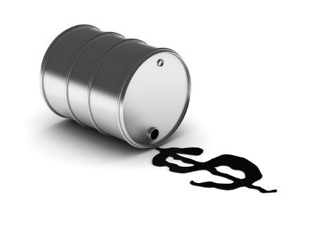 oil can: Money from oil. Drum with spilled oil isolated on white background. High quality 3d render.
