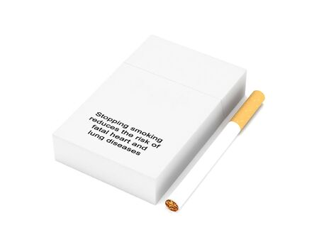 reduces: Warnings. Stopping smoking reduces the risk of fatal heart and lung diseases. Pack of cigarettes isolated on white background. High quality 3d render. Stock Photo