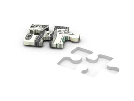 Financial solution. Part of puzzle with image of dollar isolated on white background. High quality 3d render.